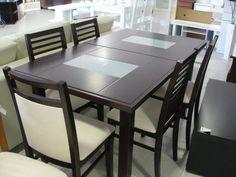 Mesa extensible con detalle vidrio. 1.60x0.90m a 2 mts Silla nº182, asiento y respaldo tapizado Silla nº181, asiento tapizado respaldo made...