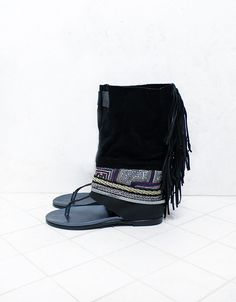 Emonk Ibiza Custom Made Boho Native Soul Sandals in Black | SWANK