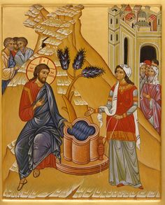 Christ and the Samaritan woman (St Photini) at the well Images Of Christ, Religious Images, Religious Icons, Religious Art, Byzantine Icons, Byzantine Art, Mary Magdalene And Jesus, Life Of Christ, Russian Icons