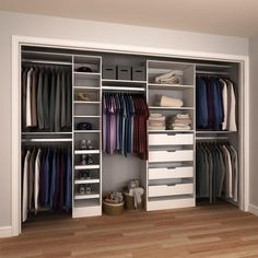 Superieur H Melamine Reach In Closet System Kit In White