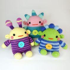 Romper Monsters amigurumi pattern by Janine Holmes at Moji-Moji Design