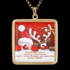 #Funny #Santa and #Reindeer #Cartoon #Necklace © Bluedarkat