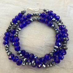 Long royal blue silver crystal necklace 25 color block