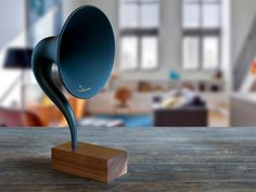 Gramavox - A bold design and vintage sound inspired by the 1920s Magnavox R3 horn speaker. Its form and function are a marriage of vintage and modern aesthetics – producing a timeless piece that allows you to stream nostalgia.