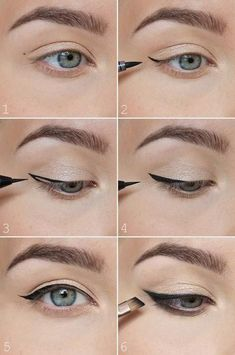 How to perfect winged eyeliner? Easy tips for winged eyeliner look! How to per… How to perfect winged eyeliner? Easy tips for winged eyeliner look! How to perfect winged eyeliner. How to choose and apply eyeliner - Schönheit von Make-up Winged Eyeliner Tricks, Eyeliner Make-up, Eyeliner For Hooded Eyes, Perfect Winged Eyeliner, Eyeliner For Beginners, Simple Eyeliner, Eyeliner Hacks, Eye Liner Tricks, Hooded Eye Makeup