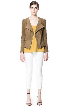 Image 1 of SUEDE JACKET WITH FRILLS from Zara