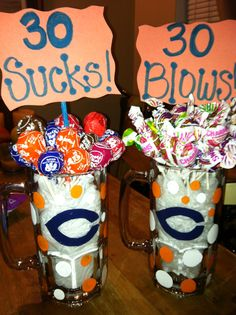 Hand painted beer mugs for my guys 30th bday. He loves Da Bears! (And beers;) )
