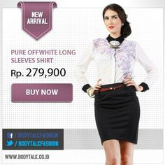 Smart look with Pure Offwhite Long Sleeves shirt. Get the look on: www.bodytalk.co.id