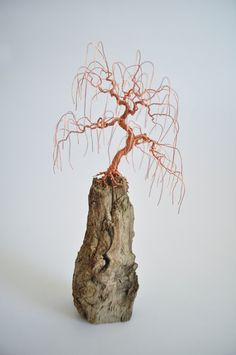Small Handmade Weeping Willow Style Wire Bonsai Tree / Driftwood Art / Hand Wrapped / Free Shipping