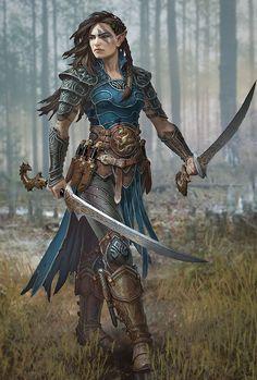 My custom Pathfinder Kingmaker portrait (Half-Elf Slayer) - Fantasy Fantasy Warrior, Fantasy Girl, Fantasy Town, Elf Warrior, Warrior Girl, Fantasy Queen, Fantasy Couples, Fantasy Castle, Warrior Women