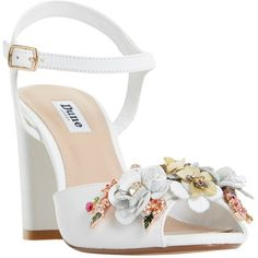 Dune Mackaya Flower Garden Block Heeled Sandals (280 TND) ❤ liked on Polyvore featuring shoes, sandals, leather high heel sandals, flower sandals, block heel sandals, flat leather sandals and low block heel sandals
