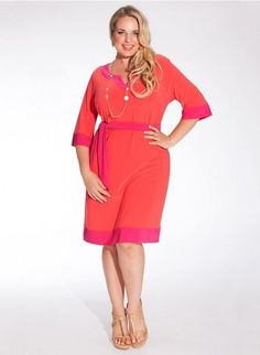 Some days you want to wear a bright color! This Plus Size PInk and Orange fashion dress from Igigi will bring a smile to your face all day long!