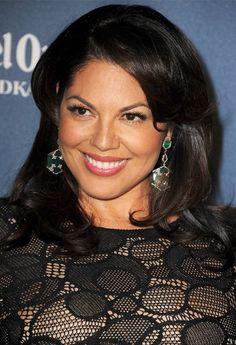 Grey's Anatomy's Sara Ramirez wearing Deco Onyx Hexagon earrings