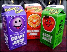 Topps Juice Gum. Oh my gosh I remember this gum! It came in little nuggets. I loved this stuff!