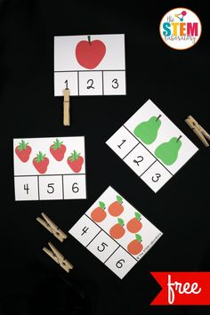 These Very Hungry Caterpillar clip cards are adorable! Such a fun way to practice the numbers 1-12 in preschool or kindergarten.