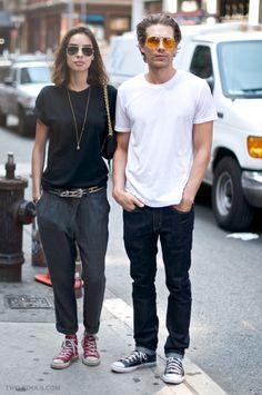 fashion duo couple hot white t sunglasses women men menswear jeans sneakers black and pants
