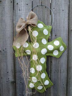 Burlap Cross Burlap Door Hanger Apple Tart Green by nursejeanneg, $28.00 @Jenny Williams
