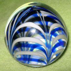 """Vintage MMA """"Metropolitan Museum of Art"""" Glass Paperweight~Blue and White Swirl"""