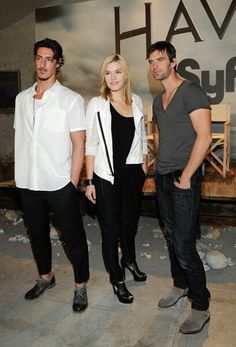 """Eric Balfour, Emily Rose and Lucas Bryant. """"Haven"""" on SyFy."""