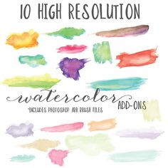 Ten High Res + ABR Watercolors by OnTheSpotStudio on Creative Market