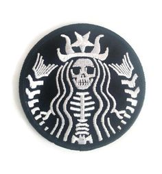 Skeleton Starbucks Embroidered Patch, iron on, sew on backing, size 3 X 3