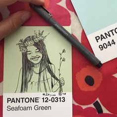 My @pantone portraits.#100pantonepostcards#pantone#pantoneproject#projectpantone#blueshineart#portraits inspired by the @sktchy App. #marimekko