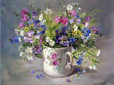 Wild Flowers in a Victorian Mug | Mill House Fine Art – Publishers of Anne Cotterill Flower Art