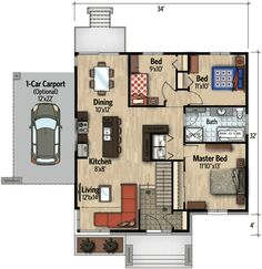 Compact Modern House Plan - 90262PD floor plan - Main Level