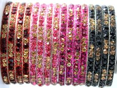 Indian Maroon Pink Fuchsia Gold Lac Children Kid Baby Crystal Bangle 16 Pieces #Handmade #Bangle