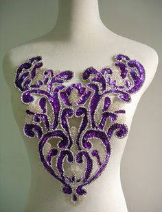 BD39 Floral Bodice Sequin Bead Applique Purple Dancewear Tutu