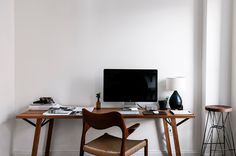 Work space of natural wood in white / Faculty Department for Cereal Magazine