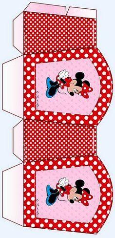Minnie Rojo y Rosa: Cesta para Imprimir Gratis.