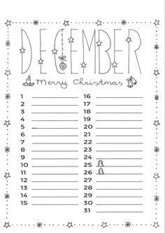 december Diy Calendar, Journal Prompts, Bujo, Free Printables, December, Doodles, Inspiration, Creative, Handwriting