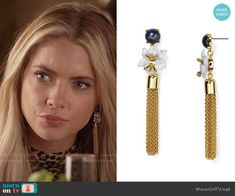 Hanna's earrings on Pretty Little Liars. Outfit Details: https://wornontv.net/58613/ #PLL Buy them here: http://wornon.tv/36961
