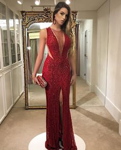 Mermaid jewel dark red sequined split sleeveless porm dress with beading