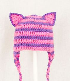 Cheshire Cat Ears Earflap Hat from Alice in Wonderland, Hot Pink and Purple Crochet Beanie, send size choice baby - adult. $25.00, via Etsy.
