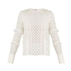 Self-portrait Ruffled-sleeve daisy-lace top ($340) ❤ liked on Polyvore featuring tops, blouses, white, flutter sleeve blouse, white ruffle blouse, white blouse, ruffle sleeve blouse and long sleeve lace blouse