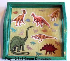 wood tray with a dinosaur theme sealed in resin. Great for kids! Wood Tray, Trays, Handcrafted Jewelry, Magnets, Polymer Clay, Resin, Kids, Handmade Chain Jewelry, Young Children