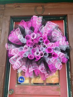 Deco Poly Mesh also available at www.craigbachman.com: Custom 4 Color Curly Deco Mesh Wreath by CreationsByKat2012, $40.00