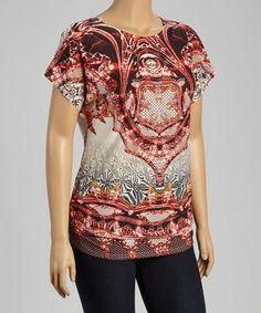 Look at this #zulilyfind! Red & Black Abstract Cape-Sleeve Tunic - Plus by Seven Karat #zulilyfinds