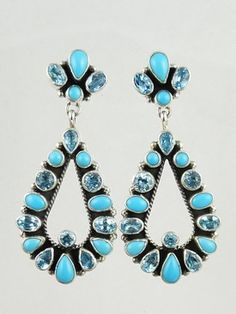 Sleeping Beauty Turquoise & Blue Topaz Dangle Earrings by Geneva Apachito, Navajo    Native American Jewelry
