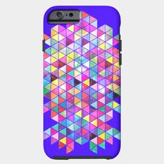 Kick Of Freshness iPhone Case by Fimbis /// Also available as a T Shirt, Art Print, Phone Case, Tank Top, Crew Neck, Pullover, Zip, and Sticker. /// #geometric #colourful #colorful #iphone6 #iphone6s #rainbow #vibrant #pink #purple