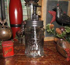 Primitive Antique Vtg Style Hoosier Ribbed Glass Soap Jar w/ Metal Lid Dispenser
