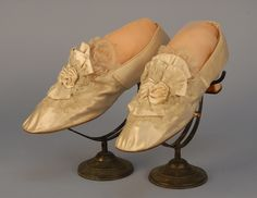 Slippers, French, 1870's, Made of silk satin, linen, lace and kid leather