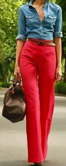 High waisted   Fashion. Wide leg red pants