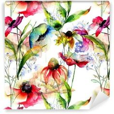 Seamless pattern with stylized flowers Wallpaper ✓ Easy Installation ✓ 365 Day Money Back Guarantee ✓ Browse other patterns from this collection! Kitchen Artwork, Flower Wallpaper, Botanical Prints, Flower Patterns, Clip Art, Flowers, Dining Room, Walls, Painting