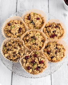 Baked Oatmeal Cups are your healthy, yummy breakfast grab 'n go! Easy to make, vegan, whole-grain, oil-free, and nut-free. Vegan Baked Oatmeal, Baked Oatmeal Cups, Plant Based Breakfast, What's For Breakfast, Vegan Breakfast, Vegan Baking Recipes, Whole Food Recipes, Vegan Snacks, Vegan Food