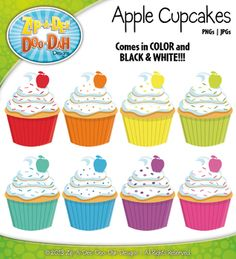 Rainbow Vanilla Apple Cupcakes Clipart — Includes 9 Graphics!