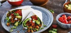 Try Vegetarian Tacos with crunchy walnuts and feta cheese. Serve in Plain Flour Soft Tortillas with Salsa. Vegetarian Taco Filling, Vegetarian Recipes, Coleslaw, Taco Diner, Pak Choi, Taco Fillings, Mexican Food Recipes, Ethnic Recipes, Vegetarian Cooking