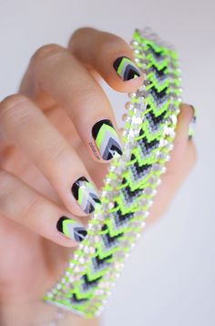 Bracelet style nail art nails green nail grey bracelet neon studs pretty nails nail art nail ideas nail designs